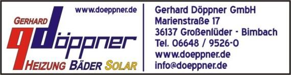 Gerhard Döppner GmbH . Heizung - Bäder - Solar . Marienstraße 17 . 36137 Großenlüder - Bimbach . Tel. 06648-95260 . www.doeppner.de . info@doeppner.de
